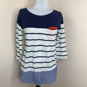 9-H15 StCL Anthro Navy Red & White Striped Top Med